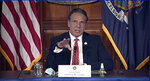 In this image taken from video from the Office of the N.Y. Governor, New York Gov. Andrew Cuomo speaks during a news conference about the state budget, Wednesday, April 7, 2021, in Albany, N.Y. (Office of the NY Governor via AP)