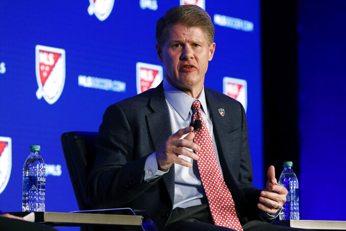 FC Dallas and Kansas City Chiefs Chairman & CEO Clark Hunt is interviewed during the Major League Soccer 25th Season kickoff event in New York, Wednesday, Feb. 26, 2020. (AP Photo/Richard Drew)