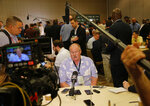 Kansas City Chiefs head coach Andy Reid speaks to the media during the NFC/AFC coaches breakfast during the annual NFL football owners meetings, Tuesday, March 26, 2019, in Phoenix. (AP Photo/Matt York)