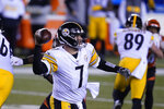 Pittsburgh Steelers quarterback Ben Roethlisberger (7) throws during the first half of an NFL football game against the Cincinnati Bengals, Monday, Dec. 21, 2020, in Cincinnati. (AP Photo/Michael Conroy)