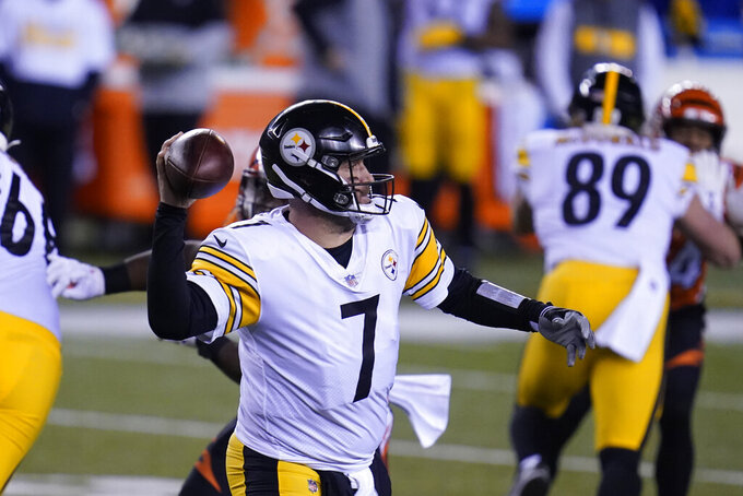 Pittsburgh Steelers quarterback Ben Roethlisberger (7) throws during the first half of an NFL football game against the Cincinnati Bengals, Monday, Dec. 21, 2020, in Cincinnati. (AP Photo/Michael Conroy)