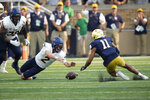 Toledo quarterback Carter Bradley (2) goes after a fumble with Notre Dame cornerback Ramon Henderson (11) in the second half of an NCAA college football game in South Bend, Ind., Saturday, Sept. 11, 2021. Notre Dame won 32-29. (AP Photo/AJ Mast)
