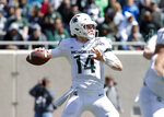 FILE - In this April 13, 2019, file photo, Michigan State quarterback Brian Lewerke looks to throw a pass during an NCAA college football spring scrimmage game, in East Lansing, Mich. Tulsa plays at No. 18 Michigan State on Friday, Aug. 31, 2019.  (AP Photo/Al Goldis, File)