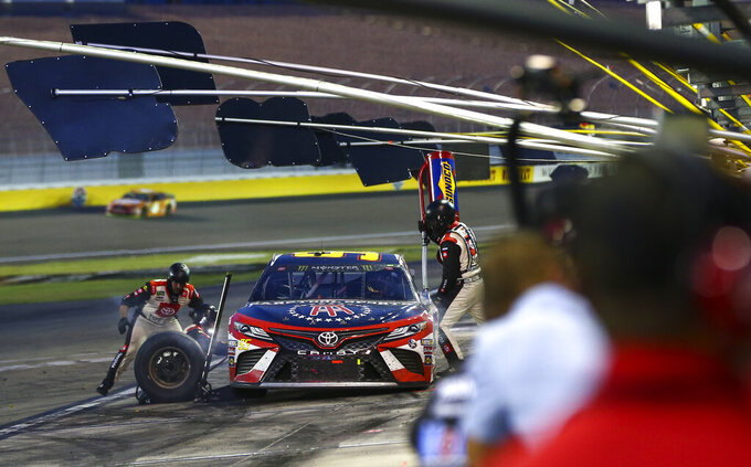 Matt DiBenedetto pits during a NASCAR Cup Series auto race at the Las Vegas Motor Speedway on Sunday, Sept. 15, 2019. (AP Photo/Chase Stevens)