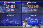 A currency trader walks by the screens showing the foreign exchange rates at a foreign exchange dealing room in Seoul, South Korea, Friday, Sept. 24, 2021. Asian shares were mixed Friday amid concerns over troubled Chinese real estate developer Evergrande and over the pandemic. (AP Photo/Lee Jin-man)