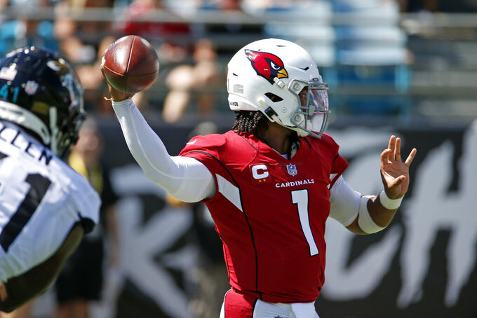 Arizona Cardinals quarterback Kyler Murray (1) throws a pass during the first half of an NFL football game against the Jacksonville Jaguars, Sunday, Sept. 26, 2021, in Jacksonville, Fla. (AP Photo/Stephen B. Morton)