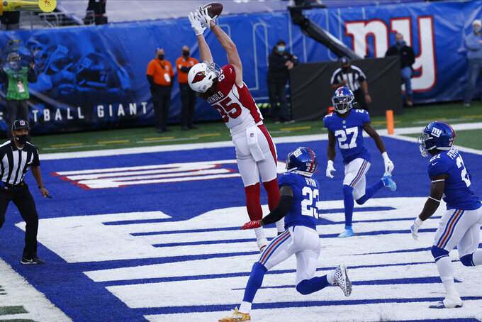 Arizona Cardinals' Dan Arnold, center, catches a pass for a touchdown during the first half of an NFL football game against the New York Giants, Sunday, Dec. 13, 2020, in East Rutherford, N.J. (AP Photo/Noah K. Murray)