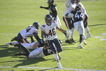 Chicago Bears running back Artavis Pierce runs past the Jacksonville Jaguars defense for a touchdown on a 3-yard run during the second half of an NFL football game, Sunday, Dec. 27, 2020, in Jacksonville, Fla. (AP Photo/Phelan M. Ebenhack)