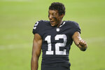Las Vegas Raiders wide receiver Zay Jones (12) celebrates after the Las Vegas Raiders defeated the Denver Broncos in an NFL football game, Sunday, Nov. 15, 2020, in Las Vegas. (AP Photo/Isaac Brekken)