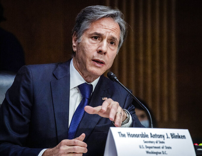 Secretary of State Antony Blinken testifies during a Senate Foreign Relations Committee hearing, Tuesday,  Sept. 14, 2021 on Capitol Hill in Washington. Blinken was questioned about the Biden administration's handling of the U.S. withdraw from Afghanistan.  (Jabin Botsford/Pool via AP)