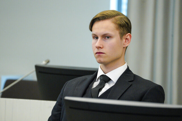 Defendant Philip Manshaus sits in a court room in Asker and Baerum district court in Sandvika, Norway, as he waits for the verdict on the last day of his trial, Thursday, Jun 11, 2020.  The Norwegian man is charged with murder and terrorism in the killing of his stepsister and the storming of an Oslo mosque, and, according to a Norwegian prosecutor, should get the maximum 21 years in prison. (Håkon Mosvold Larsen/NTB Scanpix via AP, POOL)