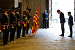 Spanish Prime Minister Pedro Sanchez and Catalonian regional president Pere Aragonès, right, arrive at the headquarter of the Government of Catalonia in Barcelona, Spain, Wednesday, Sept. 15, 2021. Spain's prime minister and the leader of Catalonia are restarting negotiations in hopes of finding a solution to the ongoing political crisis caused by the region's separatist movement. (AP Photo/Joan Mateu Parra)