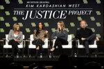 Farnaz Farjam, from left, Kim Kardashian West, Jessica Jackson and Vince DiPersio speak at the
