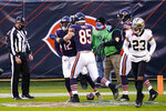 Chicago Bears wide receiver Allen Robinson (12) celebrates with tight end Cole Kmet (85) after a touchdown against the New Orleans Saints in the first half of an NFL football game in Chicago, Sunday, Nov. 1, 2020. (AP Photo/Charles Rex Arbogast)