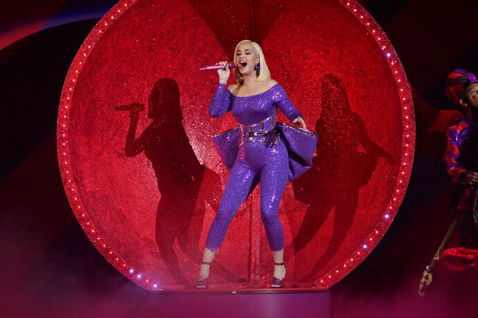 FILE - Katy Perry performs during the B96 Jingle Bash in Rosemont, Ill., on Dec. 7, 2019. Perry's latest album