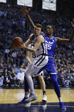 Butler's Sean McDermott (22) grabs a rebound against Seton Hall's Romaro Gill (35) during the first half of an NCAA college basketball game, Saturday, Feb. 2, 2019, in Indianapolis. (AP Photo/Darron Cummings)