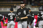 Chicago White Sox pitcher Lucas Giolito is pulled in the seventh inning of a baseball game against the Minnesota Twins on Thursday, April 12, 2018, in Minneapolis. Giolito took the loss as the Twins won 4-0. (AP Photo/Jim Mone)