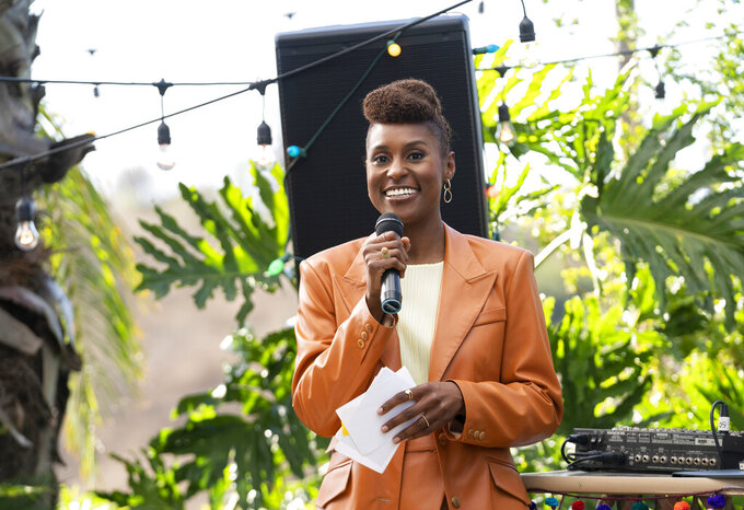 """This image released by HBO shows Issa Rae in a scene from the fourth season premiere episode of """"Insecure."""" Nominations for the next Emmy Awards will be announced on Tuesday, July 28. (Merie Weismiller Wallace/HBO via AP)"""