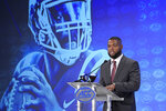 Duke's Quentin Harris speaks during the Atlantic Coast Conference NCAA college football media days in Charlotte, N.C., Thursday, July 18, 2019. (AP Photo/Chuck Burton)