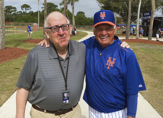 This March 2019 photo provided by Jay Horowitz shows former New York Mets public relations man Jay Horowitz, left, and New York Mets former manager Terry Collins in Florida.  In nearly four decades as the head public relations man for the New York Mets, Jay Horwitz saw plenty. What many people around the Mets all those years didn't know was how the omnipresent Horwitz saw it: with a glass right eye. (Jay Horowitz via AP)