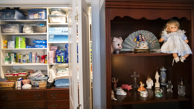 Dolls are placed in Lauren Roesky's room at their home in Metairie, La., Friday, Sept. 17, 2021. (Sophia Germer/The Times-Picayune/The New Orleans Advocate via AP)