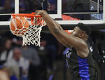 Duke's Zion Williamson dunks against Wake Forest during the first half of an NCAA college basketball game in Winston-Salem, N.C., Tuesday, Jan. 8, 2019. (AP Photo/Chuck Burton)