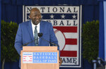 National Baseball Hall of Fame inductee Lee Smith speaks during an induction ceremony at the Clark Sports Center on Sunday, July 21, 2019, in Cooperstown, N.Y. (AP Photo/Hans Pennink)