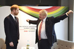 Britain's Prince Harry and Prime Minister Boris Johnson, left, at the UK Africa Investment Summit in London, Monday Jan. 20, 2020. Boris Johnson is hosting 54 African heads of state or government in London. The move comes as the U.K. prepares for post-Brexit dealings with the world. (Stefan Rousseau/Pool via AP)