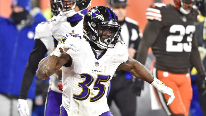 Baltimore Ravens running back Gus Edwards (35) celebrates after scoring an 11-yard touchdown during the first half of an NFL football game against the Cleveland Browns, Monday, Dec. 14, 2020, in Cleveland. (AP Photo/David Richard)
