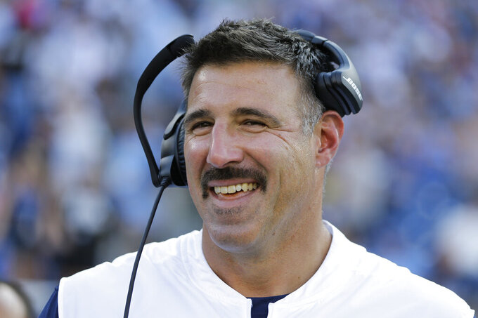 Tennessee Titans head coach Mike Vrabel watches from the sideline in the first half of a preseason NFL football game against the New England Patriots Saturday, Aug. 17, 2019, in Nashville, Tenn. (AP Photo/James Kenney)