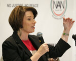 U.S Sen. Amy Klobuchar, D-Minn., a candidate for the 2020 Democratic presidential nomination, speaks during a luncheon at the National Action Network Convention in New York, Friday, April 5, 2019. (AP Photo/Seth Wenig)