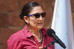 U.S. Interior Secretary Deb Haaland speaks during a news conference following a visit to Bears Ears National Monument Thursday, April 8, 2021, in Blanding, Utah. Haaland is visiting Utah as she prepares to submit a review on national monuments in the state. Residents there have both staunchly supported establishing and increasing the size of national monuments, and fiercely rallied against them. (AP Photo/Rick Bowmer)