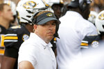 Missouri head coach Eliah Drinkwitz looks on during a timeout during the first half of an NCAA college football game against Central Michigan, Saturday, Sept. 4, 2021, in Columbia, Mo. (AP Photo/L.G. Patterson)