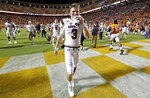 South Carolina quarterback Ryan Hilinski (3) leaves the field after their 41-21 loss to Tennessee in an NCAA college football game Saturday, Oct. 26, 2019, in Knoxville, Tenn. (AP Photo/Wade Payne)