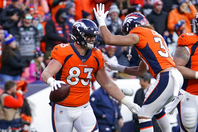 Denver Broncos fullback Andrew Beck (83) reacts with teammate running back Phillip Lindsay after scoring a touchdown during the first half of an NFL football game Sunday, Dec. 29, 2019, in Denver. (AP Photo/Jack Dempsey)