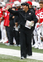 Ohio State acting head coach Ryan Day shouts to his team against Rutgers during the first half of an NCAA college football game Saturday, Sept. 8, 2018, in Columbus, Ohio. (AP Photo/Jay LaPrete)
