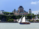 Quebec City's iconic Fairmont Le Chateau Frontenac dominates the city skyline from the ferry crossing the St. Lawrence River, Aug. 15, 2015. Riverfront bicycle trails on both sides offer easy cycling and striking views, while the Jacques-Cartier trail outside the city runs more than 80 kilometers or 50 miles through forest and meadows with several towns along the way. (AP Photo/Cal Woodward)