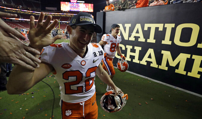 Clemson's Will Swinney walks off the field after the NCAA college football playoff championship game against Alabama, Monday, Jan. 7, 2019, in Santa Clara, Calif. Clemson beat Alabama 44-16. (AP Photo/Chris Carlson)