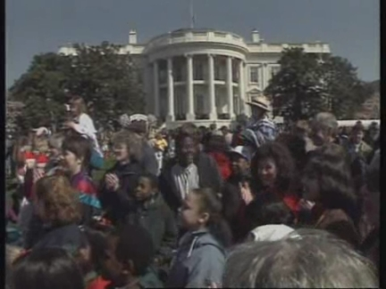 USA: WASHINGTON: ANNUAL EASTER EGG ROLL IS HELD ON WHITE HOUSE LAWN