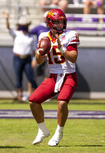 Iowa State quarterback Brock Purdy (15) looks to pass during an NCAA college football game against TCU on Saturday, Sept. 26, 2020 in Fort Worth, Texas. (AP Photo/Brandon Wade)