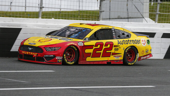 Joey Logano competes in a NASCAR Cup Series auto race at Charlotte Motor Speedway in Concord, N.C., Sunday, Oct. 11, 2020. (AP Photo/Nell Redmond)