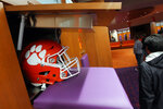 A helmet in a locker inside the Clemson Football Facility at Clemson University on Tuesday, January 31, 2017 in Clemson, S.C.. ( Ken Ruinard / Gannett/USA Today Network )/The Independent-Mail via AP)