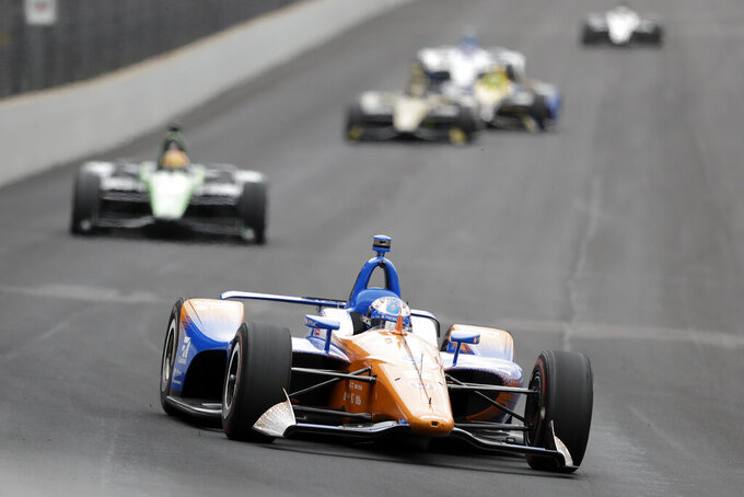 Scott Dixon, of New Zealand, drives into turn one during practice for the Indianapolis 500 IndyCar auto race at Indianapolis Motor Speedway, Monday, May 20, 2019, in Indianapolis. (AP Photo/Darron Cummings)