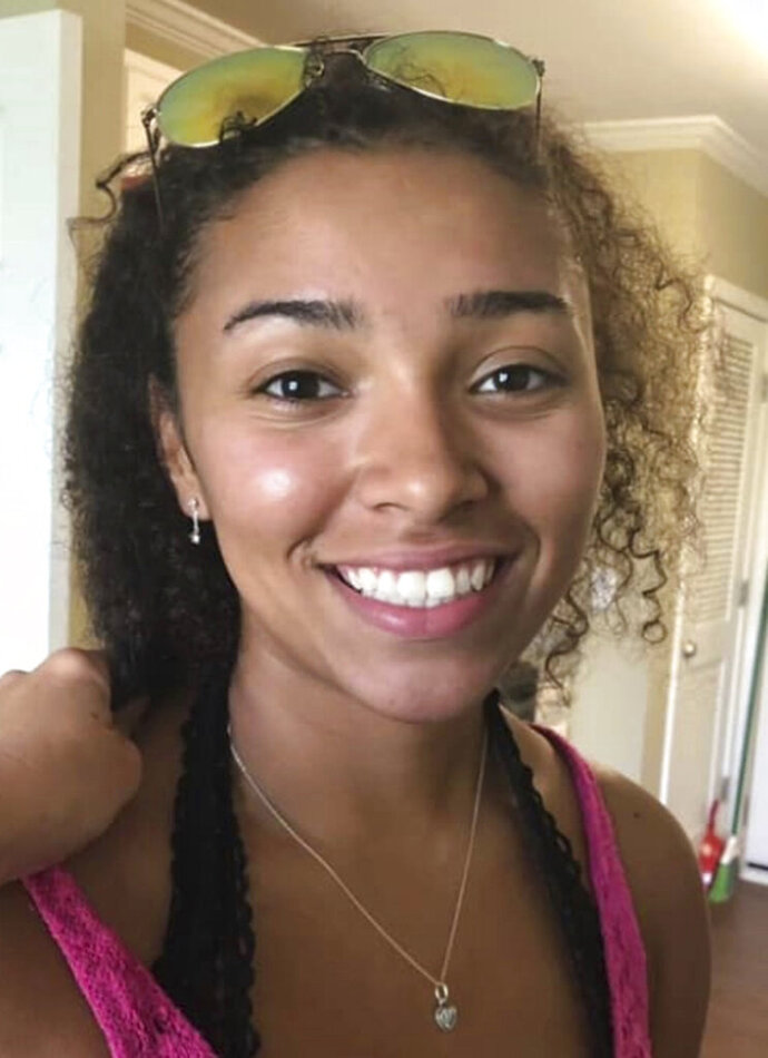 "FILE - This undated file photo released by police in Auburn, Ala., shows Aniah Haley Blanchard, 19, who is missing. An Alabama judge has denied bond to a suspect in the disappearance of UFC heavyweight Walt Harris' missing stepdaughter, Aniah Blanchard. Court records filed Tuesday, Nov. 12, 2019, show that Lee County District Judge Russell K. Bush denied bond to 29-year-old Ibraheem Yazeed, who's is charged with first-degree kidnapping. According to charging documents, police in Auburn, Alabama, said the passenger area of Blanchard's car had blood evidence showing someone had suffered ""a life-threatening injury."" A state forensics lab determined the blood was Blanchard's.  (Auburn Police Division via AP, File)"