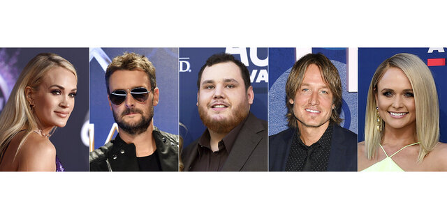 This combination photo shows, from left, Carrie Underwood, Eric Church, Luke Combs, Keith Urban and Miranda Lambert, who were nominated for Entertainer of the Year for the 54th Annual CMA Awards on Tuesday, Sept. 1, 2020. (AP Photo)