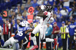 Atlanta Falcons wide receiver Julio Jones (11) makes a catch against Indianapolis Colts strong safety Clayton Geathers (26) during the second half of an NFL football game, Sunday, Sept. 22, 2019, in Indianapolis. (AP Photo/Michael Conroy)