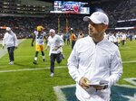 Green Bay Packers head coach Matt LaFleur walks off the field after an NFL football game against the Chicago Bears Thursday, Sept. 5, 2019, in Chicago. The Packers won 10-3. (AP Photo/Charles Rex Arbogast)