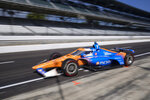 Scott Dixon, of New Zealand, leaves the pits during a practice session for the Indianapolis 500 auto race at Indianapolis Motor Speedway, Thursday, Aug. 13, 2020, in Indianapolis. (AP Photo/Darron Cummings)