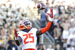 Illinois defensive back Kerby Joseph (25) intercepts the ball in the end zone during the third quarter of an NCAA college football game against Purdue Saturday, Sept. 25, 2021, in West Lafayette, Ind. (Nikos Frazier/Journal & Courier via AP)