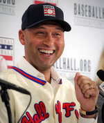 New York Yankees shortstop Derek Jeter speaks during a Baseball Hall of Fame press conference, Wednesday Jan. 22, 2020, in New York.  Jeter and Larry Walker will both join the 2020 Hall of Fame class. (AP Photo/Bebeto Matthews)